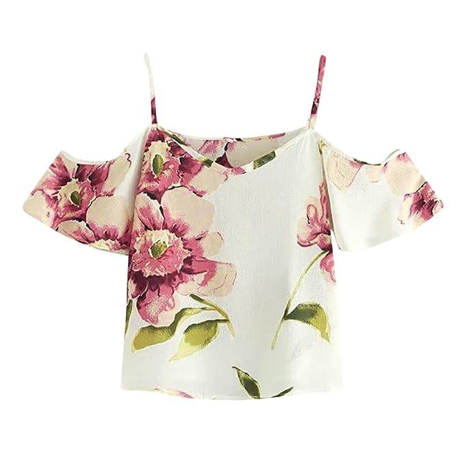 5205c432b54ab Staron Womens Tops Cold Shoulder Floral Short Sleeve Chiffon Shirts Cami Top  Blouse (S