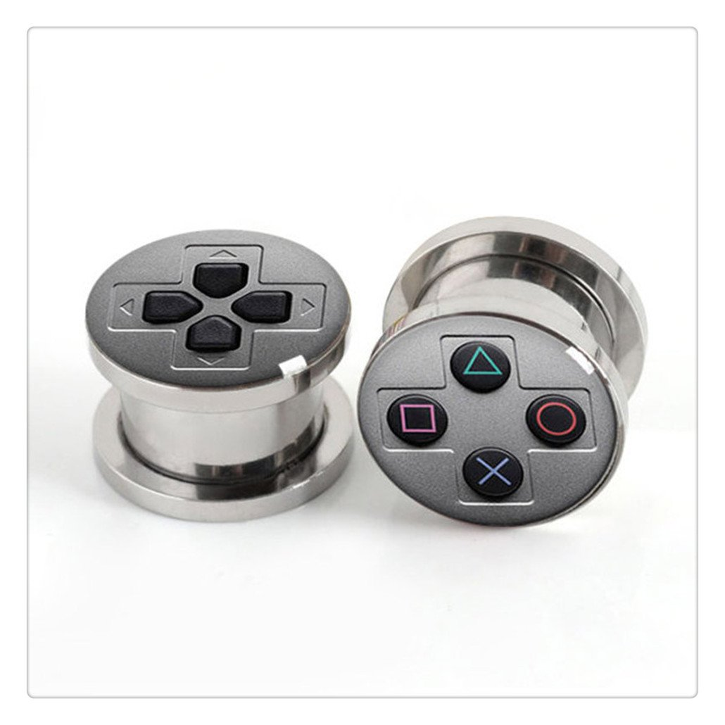 Pair Of Stainless steel Game Console plugs screw fit ear plug gauges flesh tunnel ear expander Happiness Home