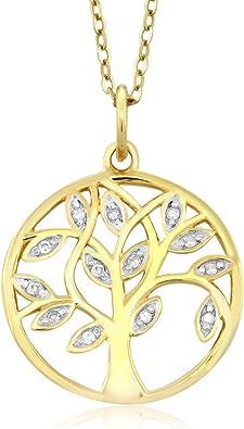 Colgante 24 quilates dorado vida árbol joyas made with Swarovski ® Elements