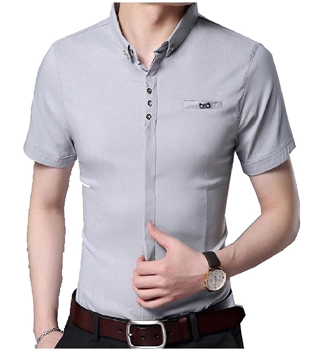 RongYao Mens Button Down Roll Sleeve Printed Casual Dress Shirt