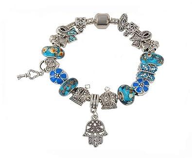 2 Für Versilbert Blau Kristall Schmetterling Anhänger für Bettelarmband