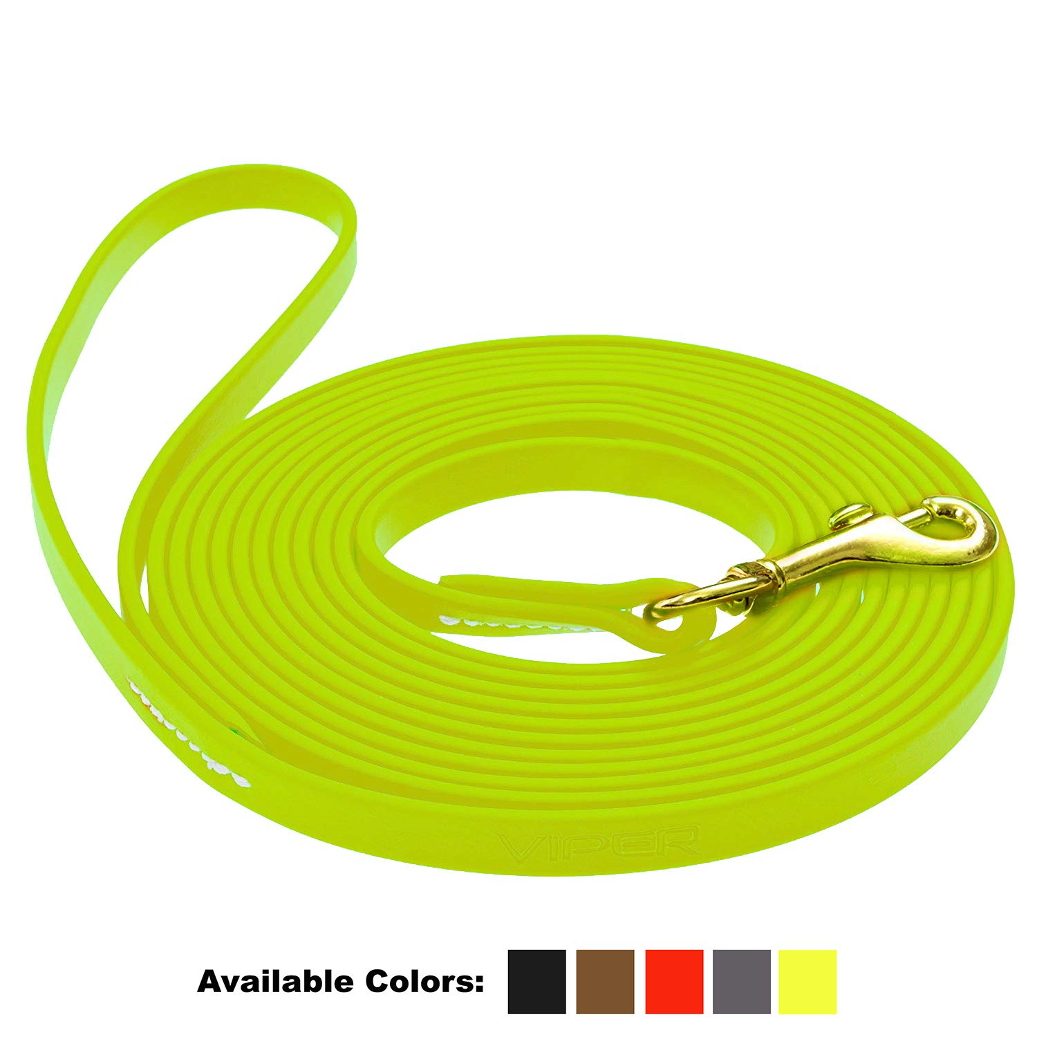 Viper Biothane K9 Working Dog Leash Waterproof Lead for Tracking Training Schutzhund Odor-Proof Long Line with Solid Brass Snap for Puppy Medium and Large Dogs 0.5 in Wide by 15 ft Long Neon Yellow by Viper