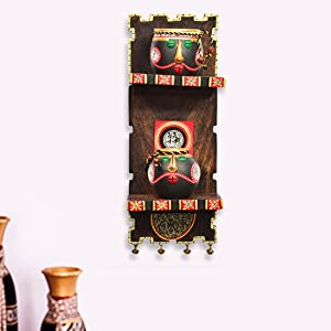ExclusiveLane Wooden Wall Shelf with Terracotta Warli Handpainted Face Pots - Wall Shelves for Bedroom Corner Décor for Living Room Terracotta Pots Wall Hanging Shelf Indian Handmade Home Décor