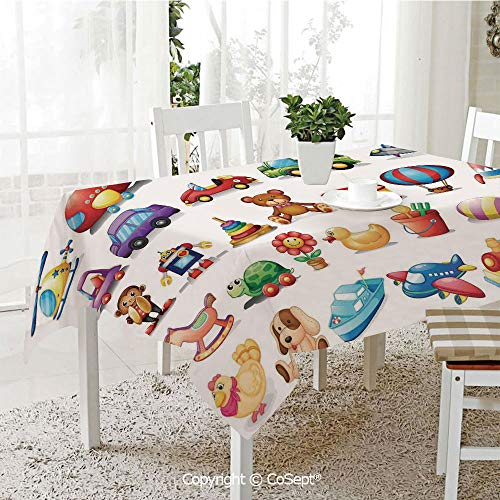 SCOXIXI Spillproof Tablecloth,Cartoon Toys Print Drum Rocking Horse Plane Robot Carsken Teddy Bear Art Pattern,Table Cloth for Kitchen Dinning Tabletop Decoration(60.23