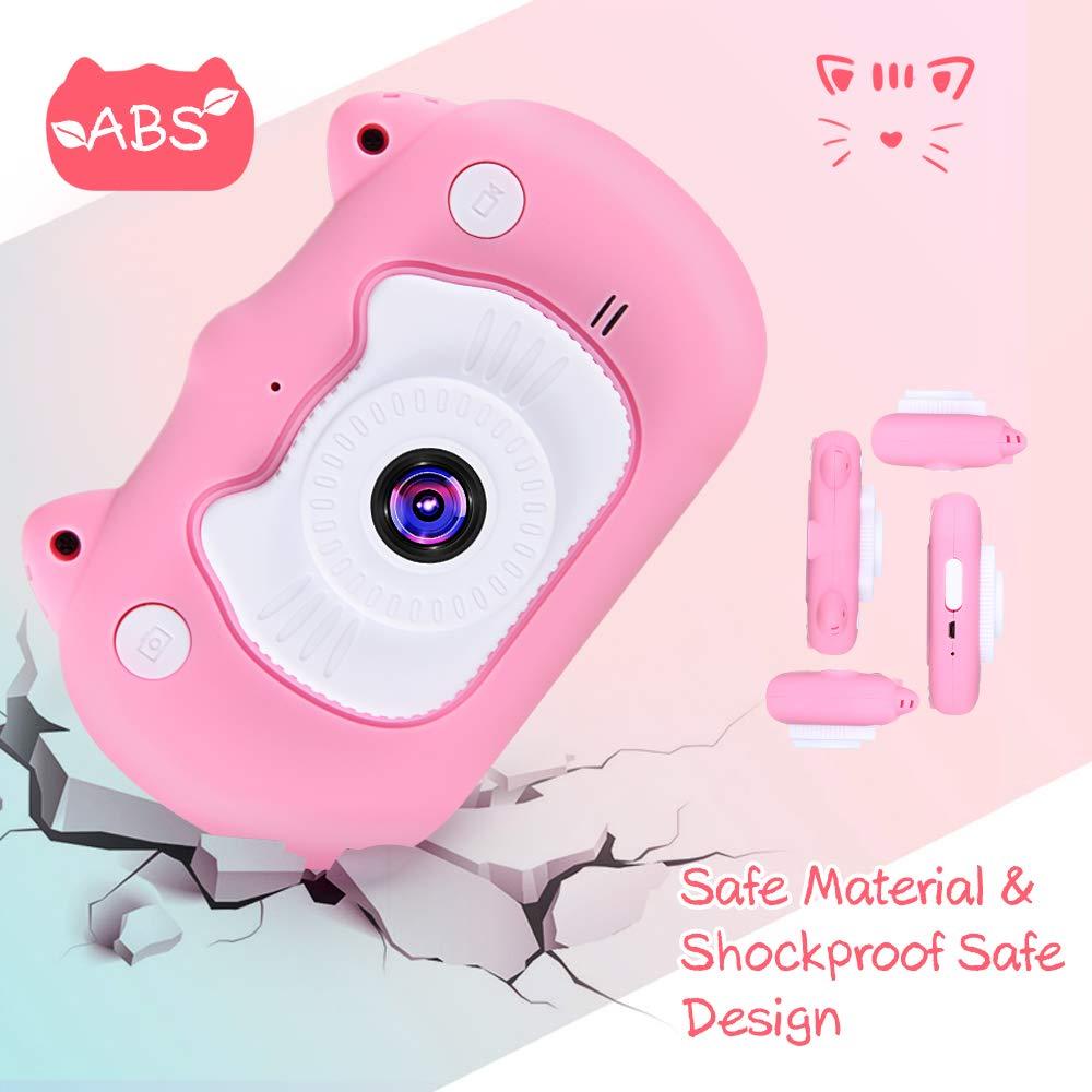 B07WC1HZ6J VATENIC Kids Camera Children Digital Cameras 2 Inch HD Toddler Video Recorder Shockproof Selfie Kid Toy Camera Birthday Best Gift for 3-10 Years Old Girls Kids (16GB SD Card Included) Pink (Pink) 61pnFf1DJjL