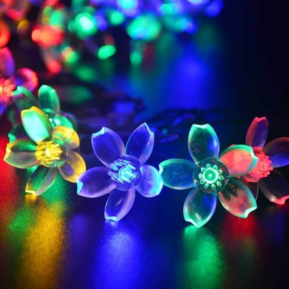 amazoncom deckey solar powered christmas lights flower 50 led 22ft decorative blossom fairy string light for garden lawn patio xmas tree holiday amazing garden lighting flower