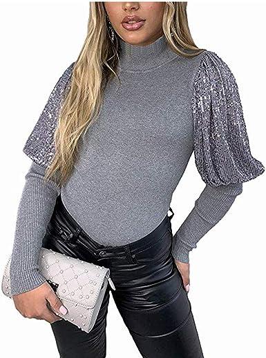 Camisa de Mujer Blusa de Manga Larga de Cuello Alto Brillante Blusa de Manga Larga Casual Suéter de Invierno Tops Blusa Pullover Fit Otoño Invierno: Amazon.es: Ropa y accesorios
