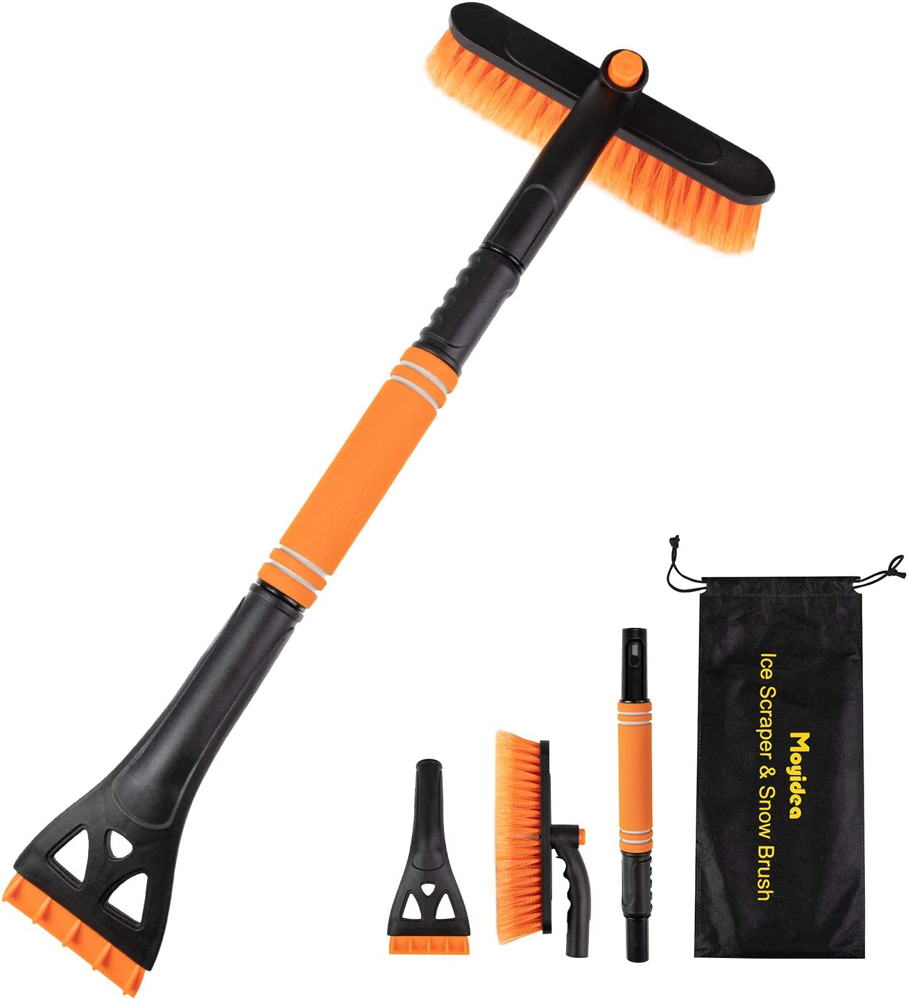 Moyidea 3 in 1 Extendable 25.2 to 31.5 Ice Scraper Snow Brush Detachable Snow Removal Tool with Ergonomic Foam Grip for Car SUV Truck