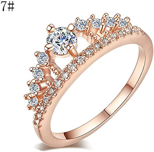 Amazon Com Gbell Fashion Crown Lady Crystal Ring Princess Rings