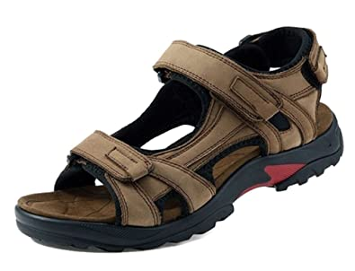 7684ac69f52e74 Femaroly New Men's Sandals Leather Outdoor Hollow Light Weight Adjustable Beach  Shoes Khaki 6.5UK