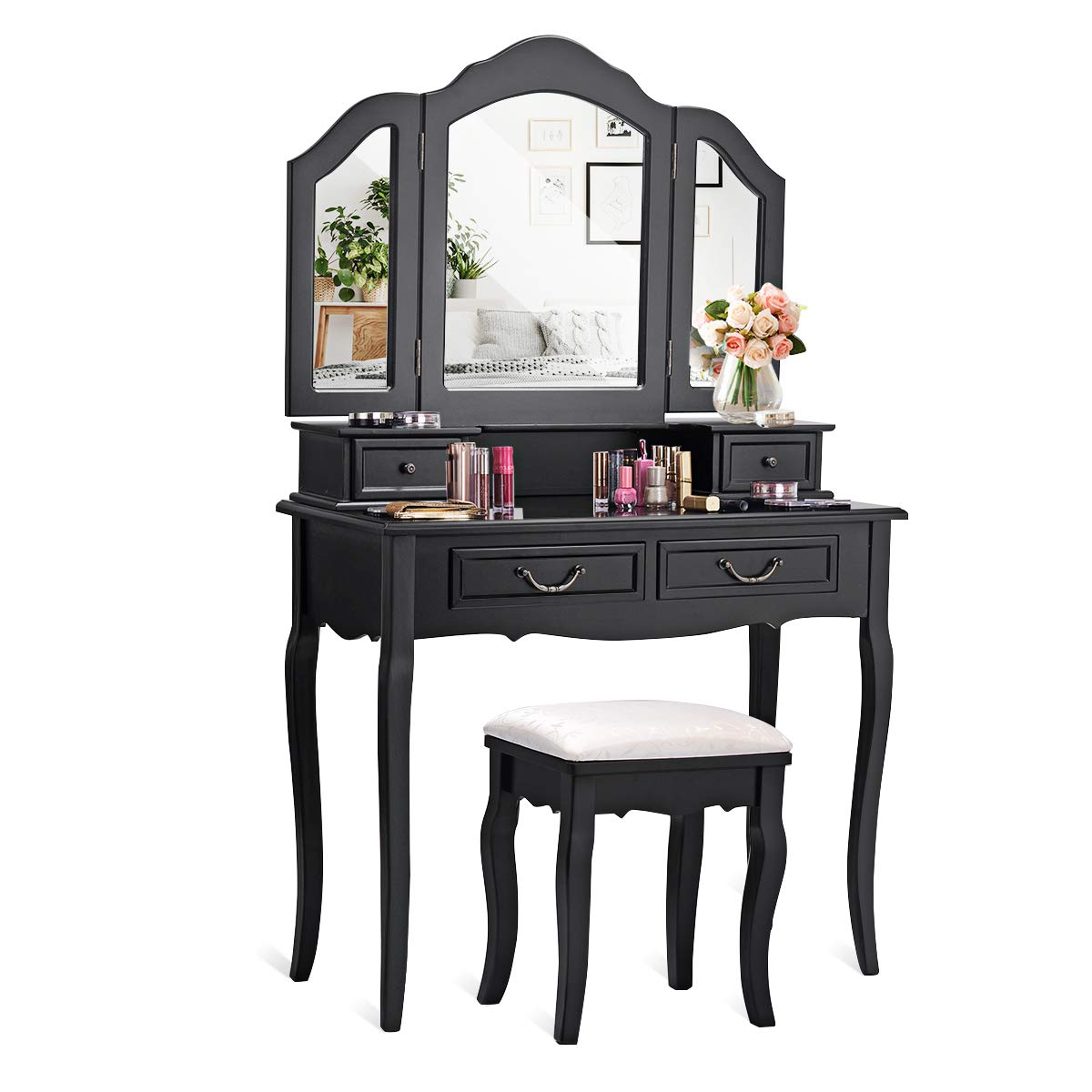 CHARMAID Vanity Set with Tri-Folding Mirror and 4 Drawers, Makeup Dressing Table with Cushioned Stool, Makeup Vanity Set for Women Girls Bedroom, Makeup Table and Stool Set (Black) by CHARMAID