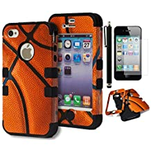 iPhone 4 Case, Bastex Heavy Duty Hybrid Case - Soft Black Silicone Cover Hard Basketball Design Case for Apple iPhone 4, 4g, 4s 4gs**INCLUDES SCREEN PROTECTOR AND STYLUS**