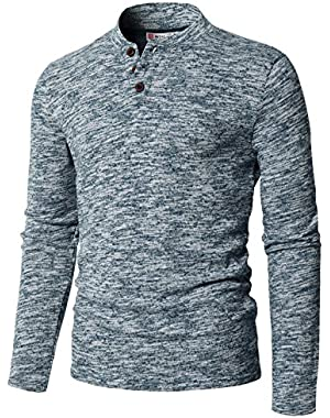 Men's Casual Long Sleeve Tops V-Neck With Buttons T-Shirt