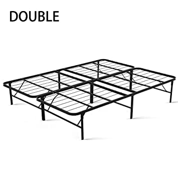 Double Size Black Metal Bed Frame Folding Base Portable Foundation