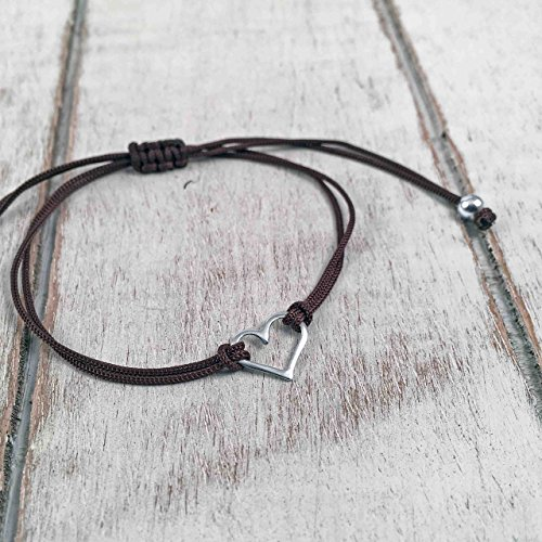 [Sterling Silver 925, Heart Shaped Charm Bracelet, Polished finish, Adjustable Thread Cord, Mocha Color, Friendship Bracelet, Handmade by Claudia Lira in Peru. Great for Sets. - READY TO ORDER] (Hearts Costumes Shoe)