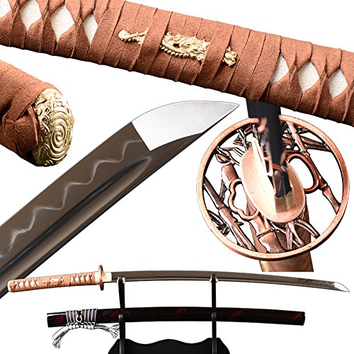 Fully Handmade Katana Clay Tempered Japanese Samurai Swors Real Sharp Can Cut Bamboo