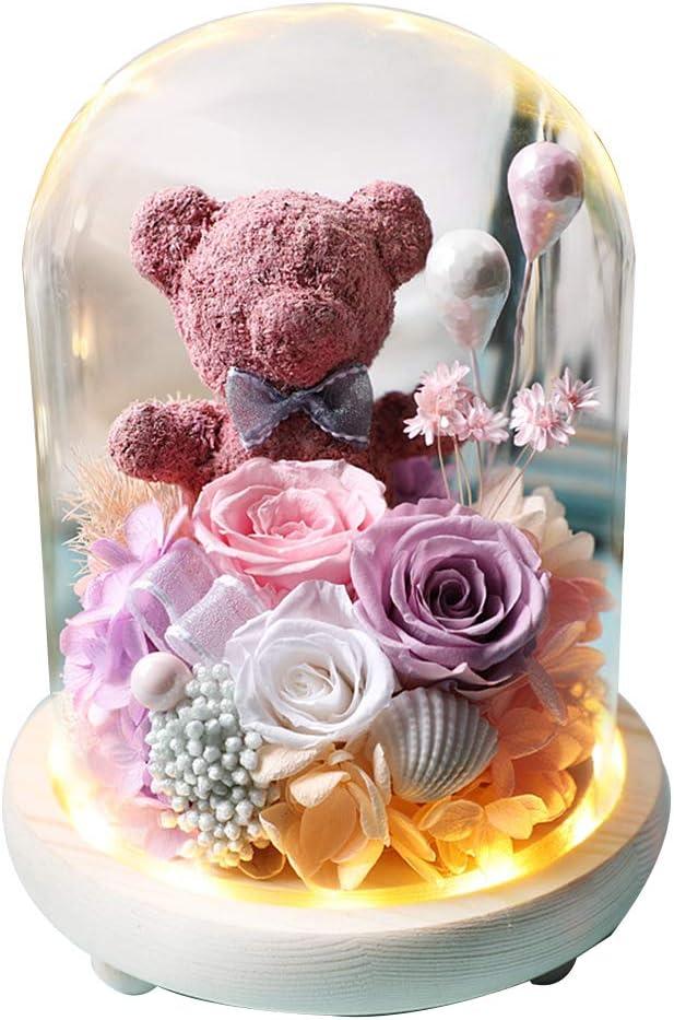 SHIJIU SHIMENG regalos de graduación para su adolescente/hombre/mujer 2020, flor de rosa, decoración de corazón de oso Caja de regalo., A