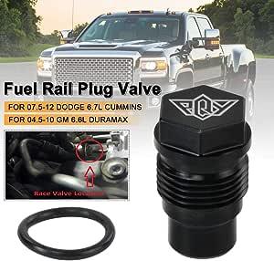 Race Fuel Rail Plug Valve for Chevy GMC 6.6l Duramax 05-10 /& Dodge 6.7l Cummins