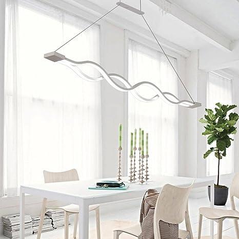 Lonfenner Después de mesa lámpara lámpara led minimalista moderna onda creativa carácter comedor sala de estar comedor dormitorio lámparas candelabros,Pequeño 100 * 4cm: Amazon.es: Iluminación