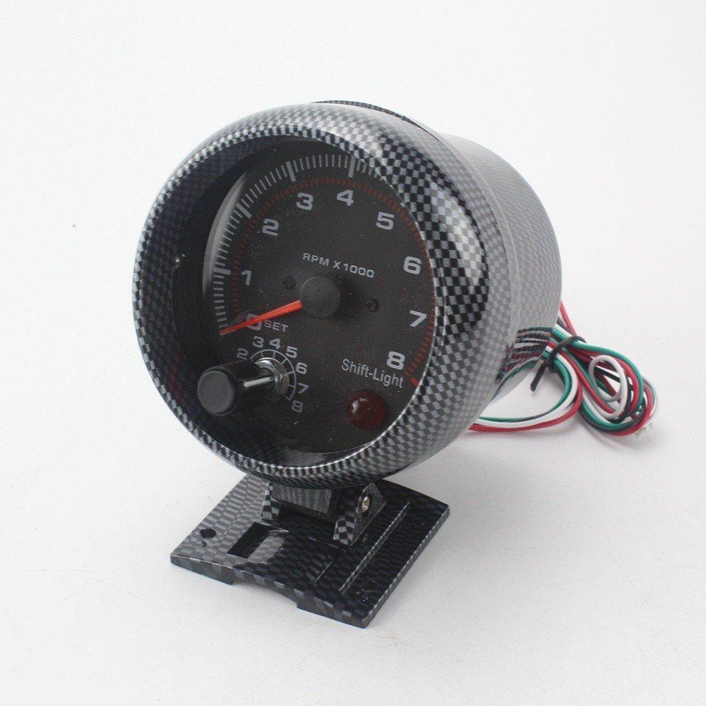 Klugh(TM)ブラケットオートカーメーターを取り付けシフト光をタコメータ3.75inch 80ミリメートルレーシングカー0から8000 RPMカーボンファイバータコメータゲージ B06XJ1VVW5