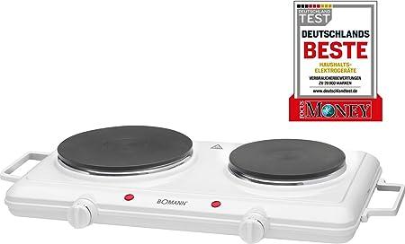 Bomann DKP 5028 CB - Cocina portatil, hornillo eléctrico doble, 2 zonas de cocinado, 2500 W, ideal para camping y pequeñas cocinas, color blanco: Bomann: Amazon.es: Hogar