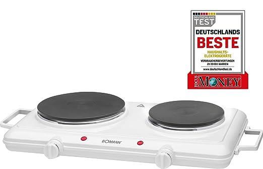 Bomann DKP 5028 CB - Cocina portatil, hornillo eléctrico doble, 2 zonas de cocinado, 2500 W, ideal para camping y pequeñas cocinas, color blanco
