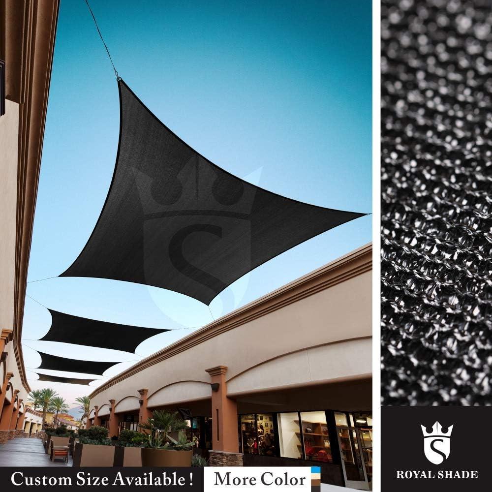 Royal Shade Custom Size Order to Make Sun Shade Sail Canopy Mesh Fabric UV Block Rectangle – Commercial Standard Heavy Duty – 200 GSM – 5 Years Warranty 16 x 16 , Black