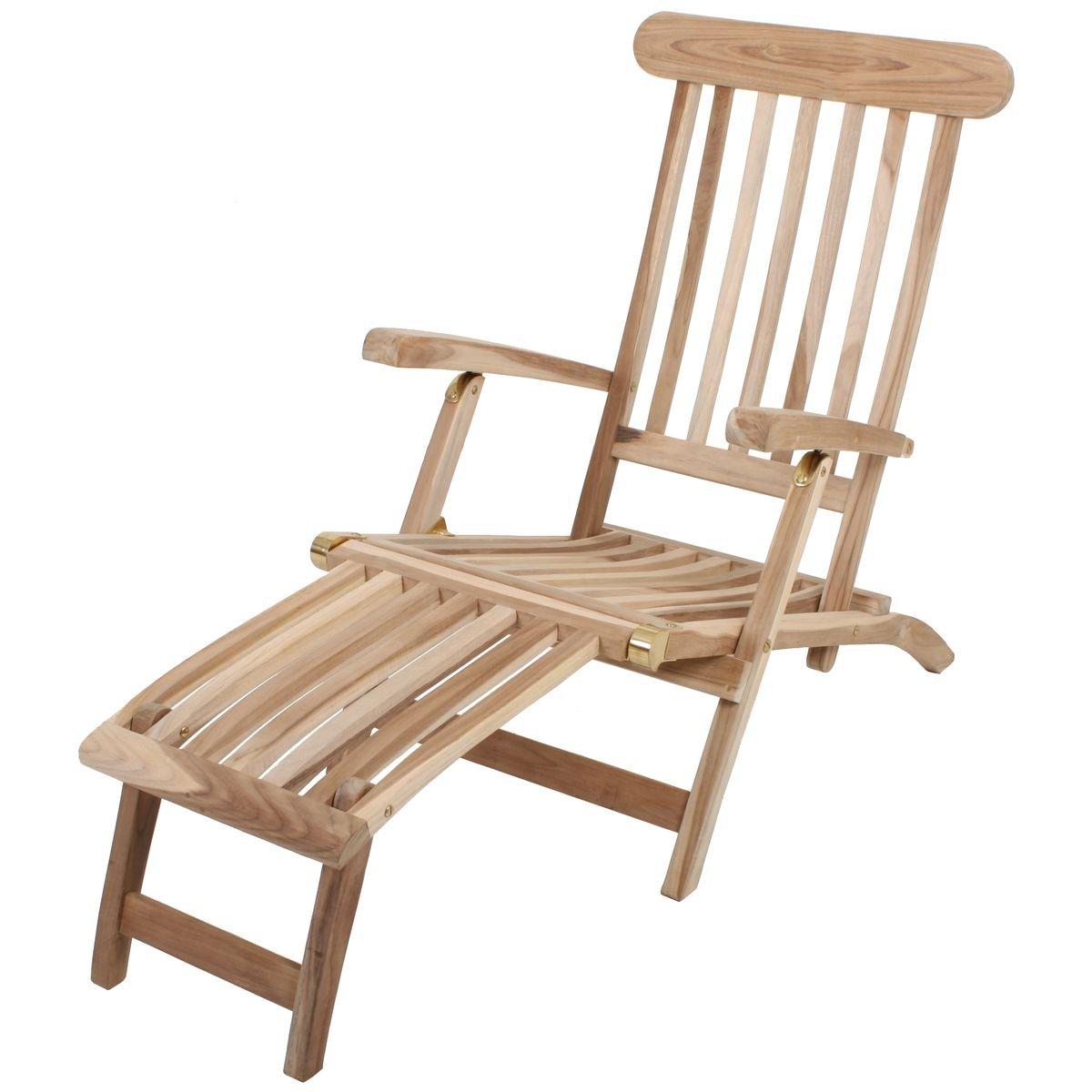 Deckchair Java aus unbehandeltem Teakholz Liegestuhl Gartenliege klappbar