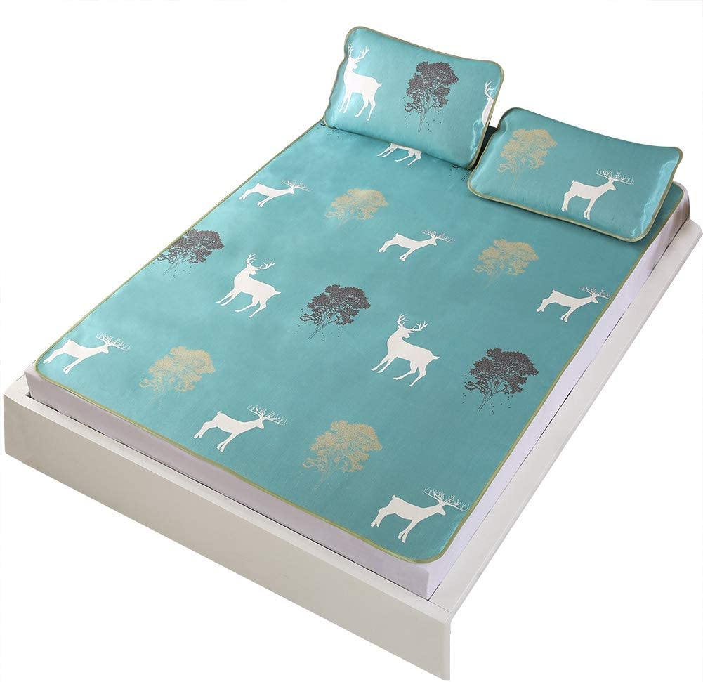 Fdit Cooling Mattresses 3D Printing Foldable Cooling Summer Sleeping Mat Ice Silk Cover with Pillow Shams Set for Home Bedroom(Twin XL)