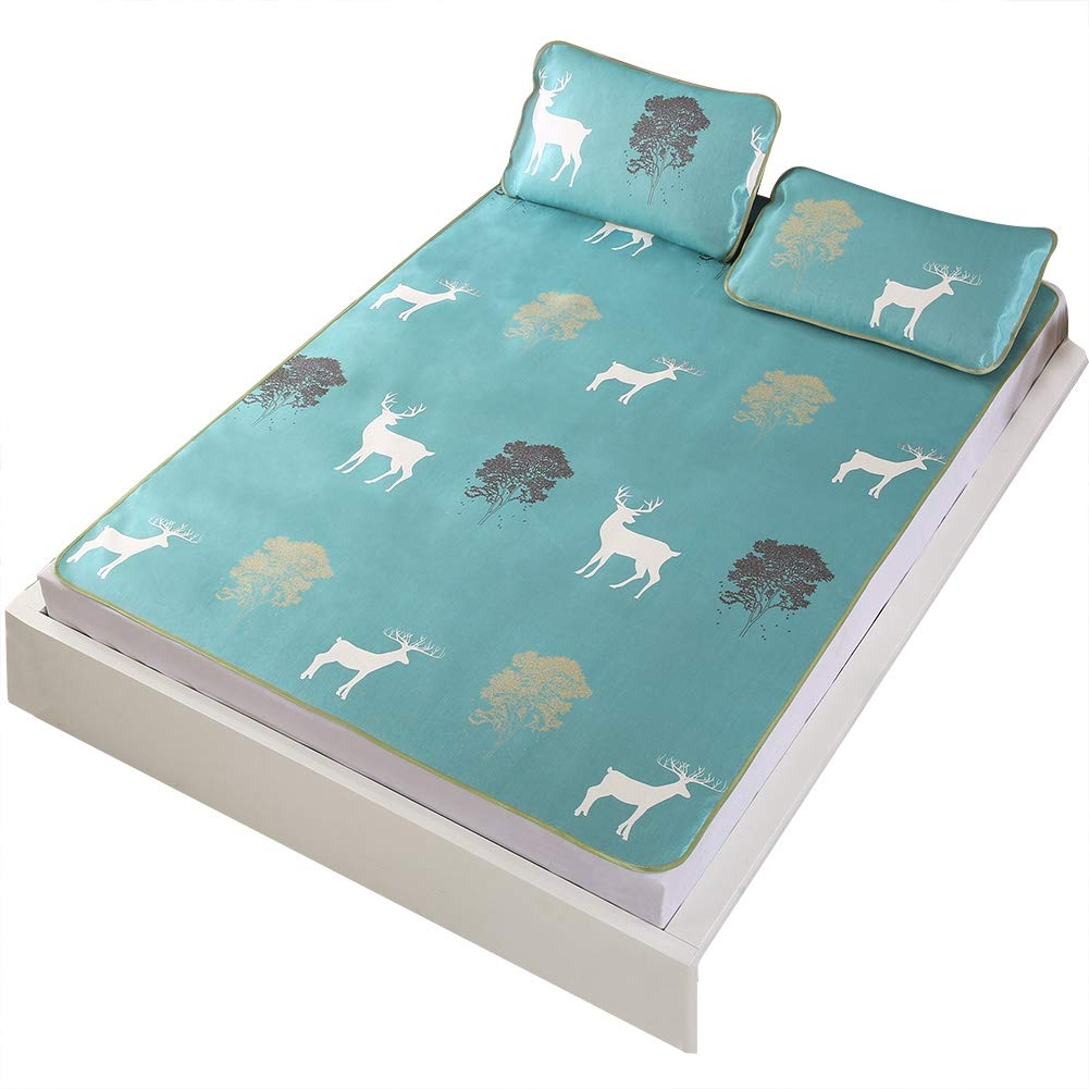 Wifehelper Summer Cool Mattress 3D Ice Silk Mat Bamboo Baby Student Pillowcase Bed Linings Foldable Three-Piece Suit Summer Single Double ice Silk mat (King)