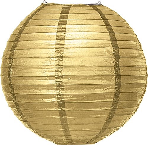 Luna-Bazaar-Premium-Paper-Lantern-Clip-On-Lamp-Shade-18-Inch-Parallel-Ribbed-Gilt-Gold-ChineseJapanese-Hanging-Decoration-For-Parties-Weddings-and-Homes