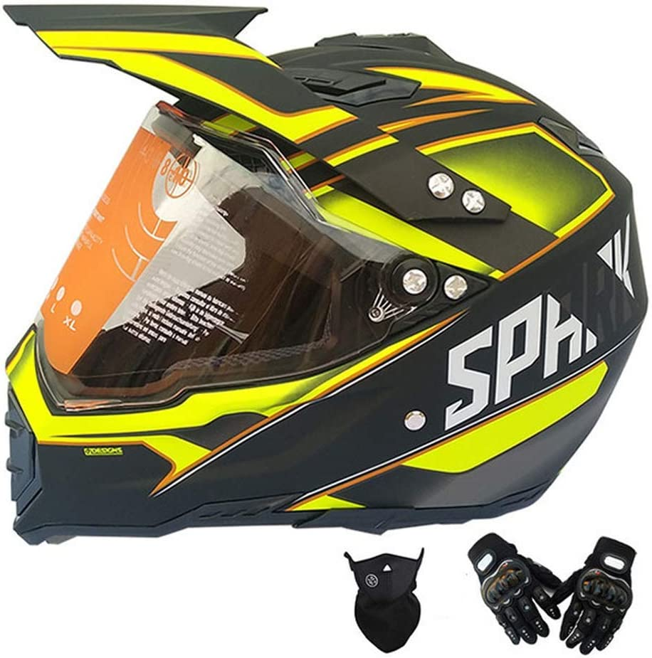 大人用モトクロスヘルメット黒と黄色、バイク用クロスヘルメットバイザーグローブマスク、フルフェイスマウンテンバイク用ヘルメットオフロードヘルメットセットバイク用クラッシュヘルメットプロテクティブギア,S