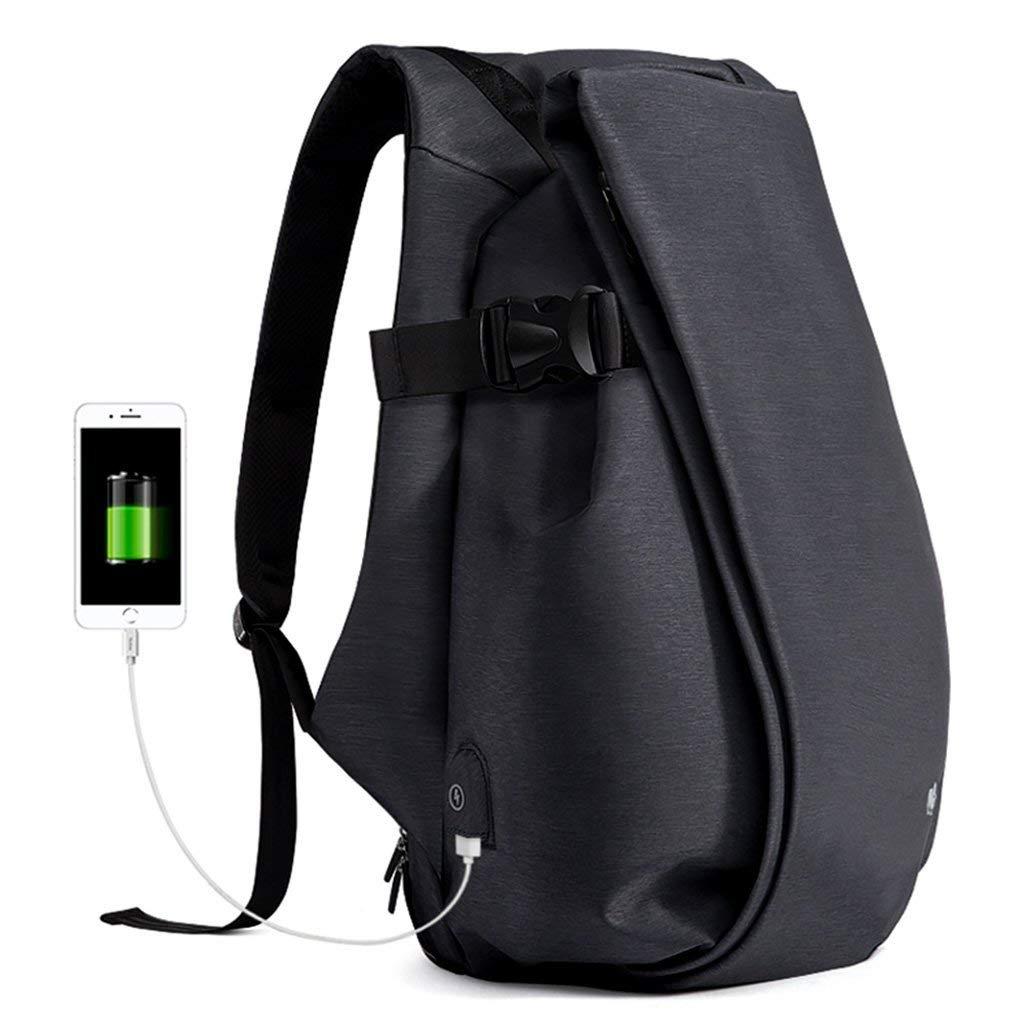 HX fashion ビジネス盗難防止防水旅行バックパック付き男性と女性のために適したインターフェイスを充電する大学生バッグ15 6インチのラップトップに適しています(ブラックブルー) 42x31x27cm ブラック B07QPM4S53