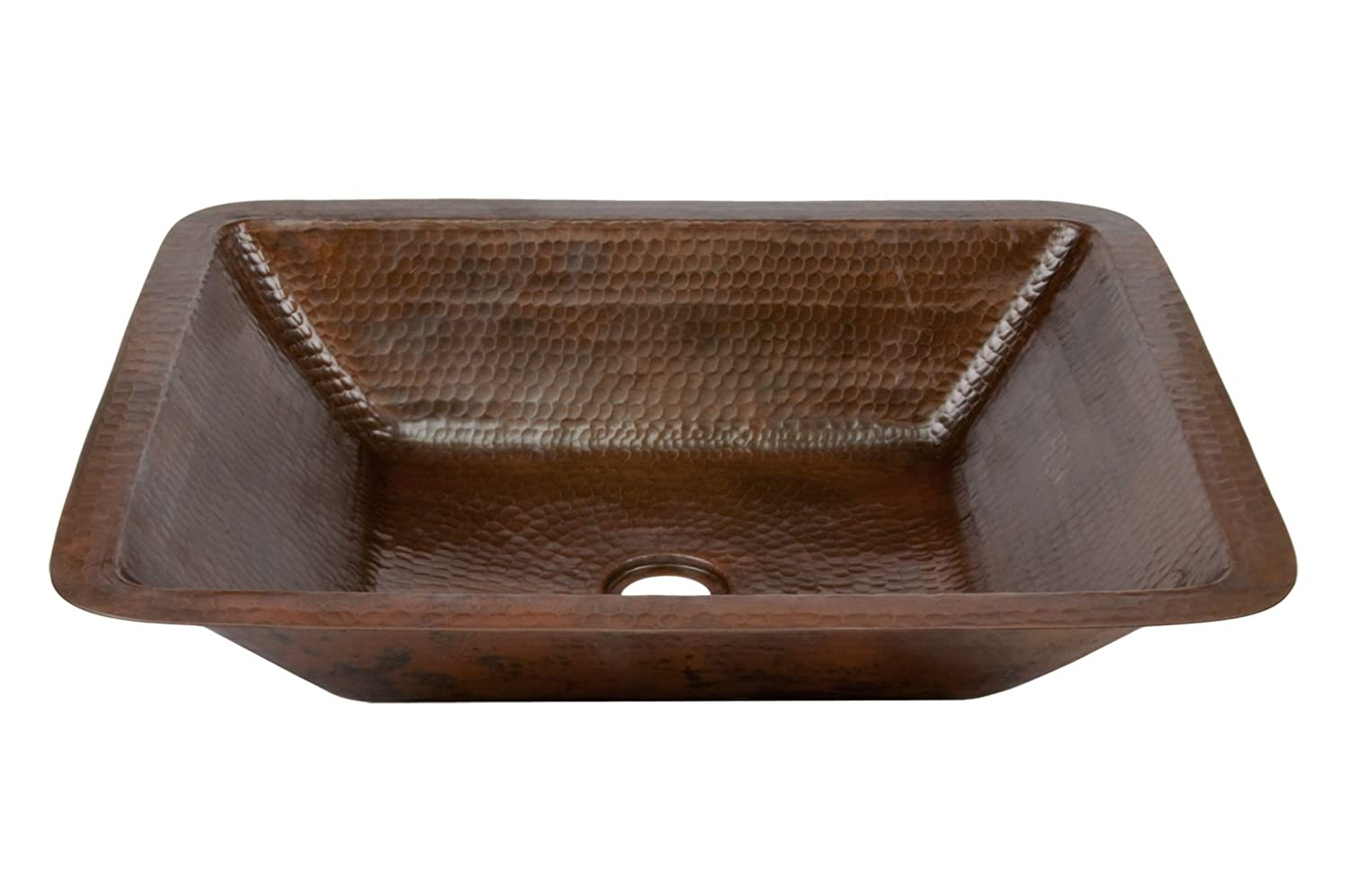 Premier Copper Products LREC19DB Hammered Copper Bathroom Sink, Oil ...