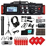 TASCAM 6-Track Linear PCM Digital Multitrack Audio Recorder/Mixer for DSLR Camera, Condenser Microphone, Headphones, 32GB Micro SD Card, 3 pcs Microfiber Cloth and Accessory Bundle (DR-701D)