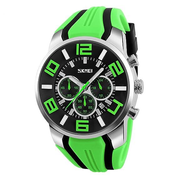 Hombre Reloj de Pulsera Analógico de Cuarzo Silicona Cronógrafo Sumergible Militar Verde Grande para Hombres 2018 Novedades Mode: Amazon.es: Relojes
