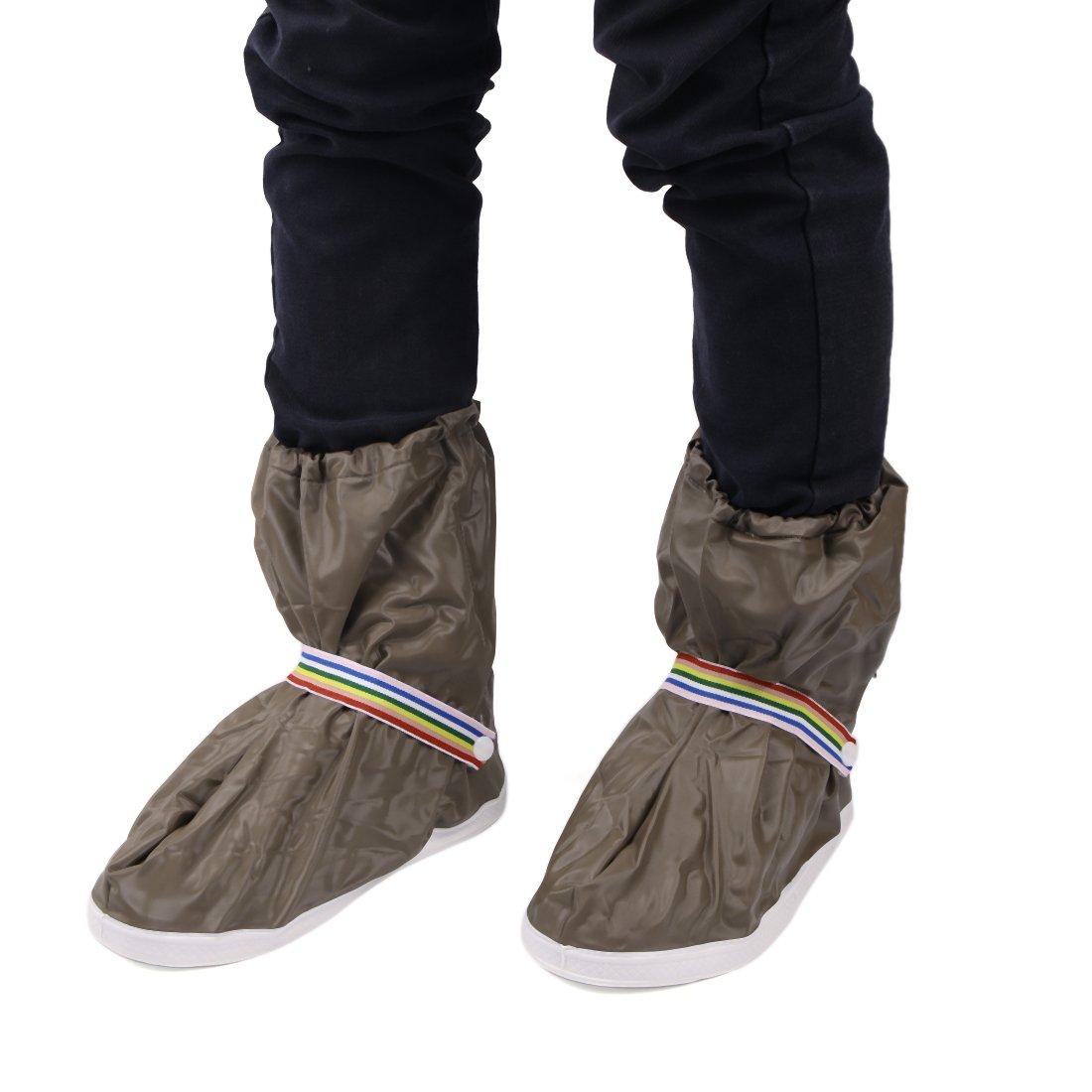 uxcell 1Pair Brown Motorcycle Anti-Slip Waterproof Adjustable Rain Shoes Boot Cover M