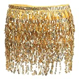 Glamaker Women's Summer Beach Wrap Sequins Tassel Mini Skirts Belly Dance Hip Scarf Belt Gold One Size