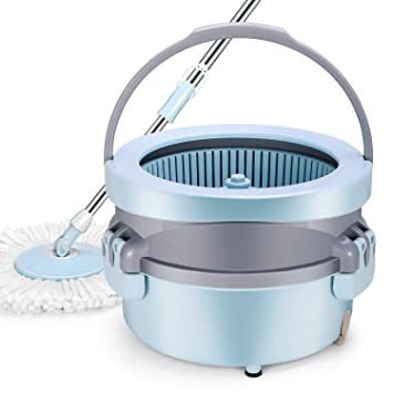 YAMTION Spin Mop Bucket, EasyWring Mop with Bucket System for Floor Cleaning, 360 Degree Rotation Mop with 2 Pack Reusable Pa