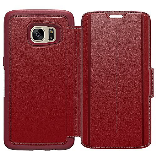 OtterBox STRADA SERIES Leather Wallet Case for Samsung Galaxy S7 Edge - Frustration Free Packaging - RUBY ROMANCE (FLAME RED/FLAME LEATHER)