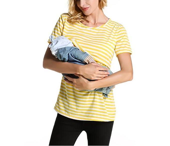 Secura La Camiseta de Las Mujeres Embarazadas de Las Mujeres - Madre Camiseta Redonda a Rayas