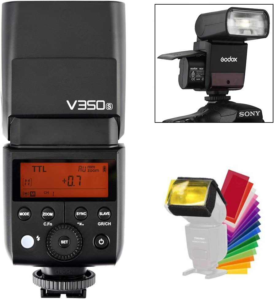 Godox V350S Sony - Speedlite Flash 2.4G GN36 TTL 1/8000s HSS with Li-ion Rechargeable Battery 500 Full Power Camera Flash 22 Steps of Power Outpout(1/1-1/128) for Sony A7RIII A7RII A7R A77II RX10 A9
