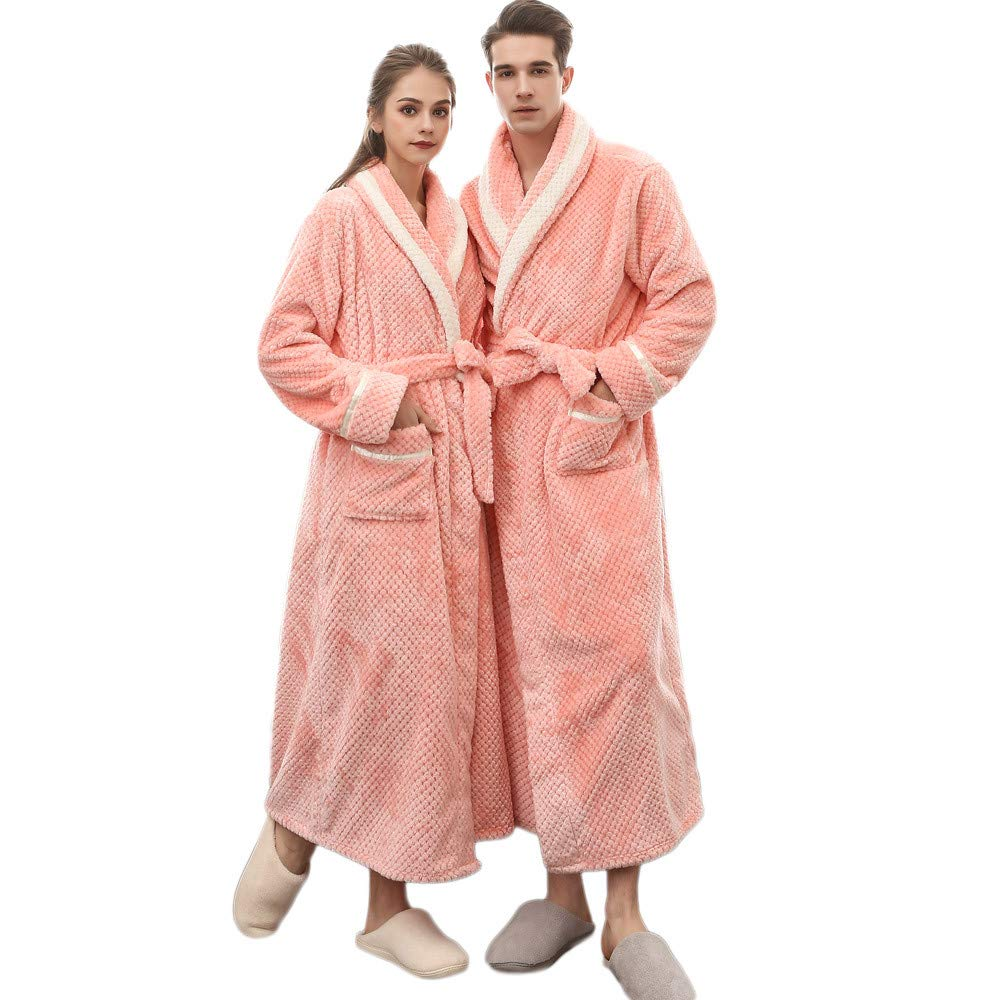 Clearance Sales Christmas Unisex Winter Plush Shawl Bathrobe Lengthened Thicken Kimono Robe Homewear Soft Sleepwear (Pink, 3XL) by Hotcl