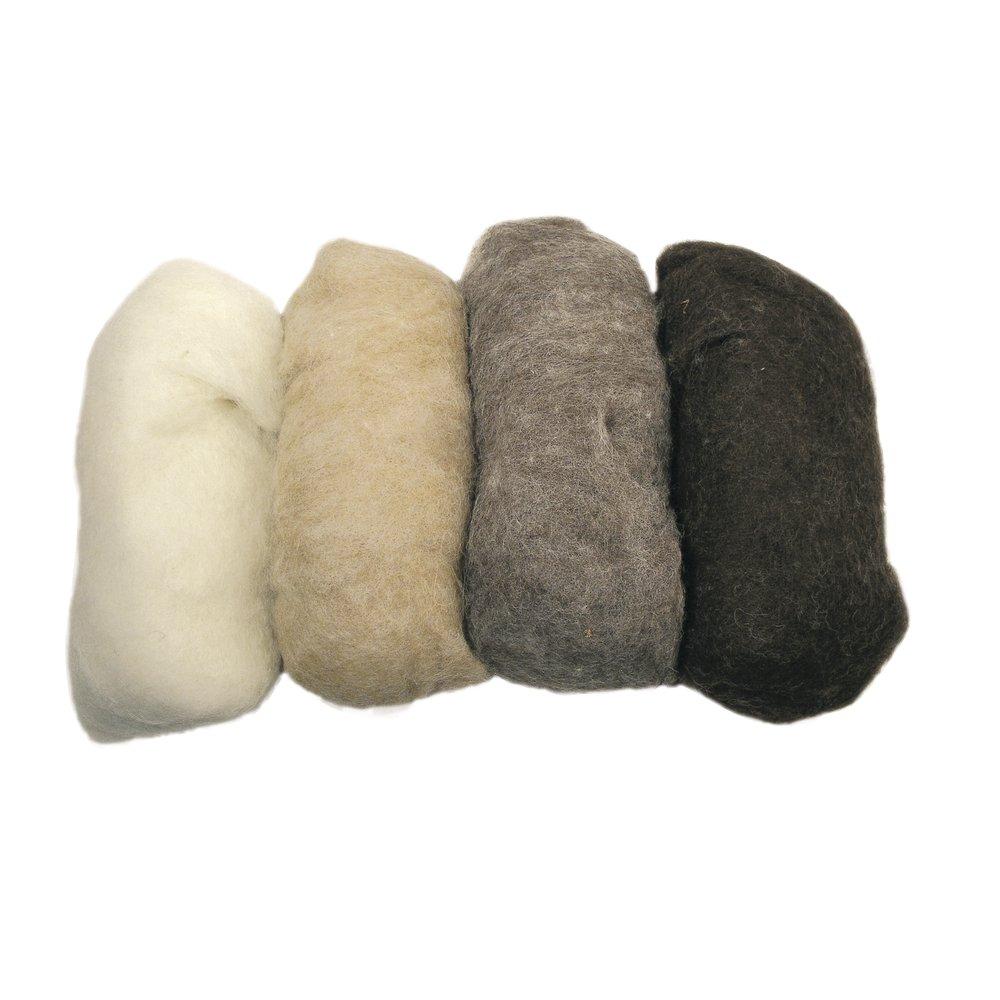 RAYHER 5363300, pura lana vergine, ruvido, in tessuto non tessuto, 4 colori a 25 G, colore Marrone 4colori a 25G Rayher Hobby