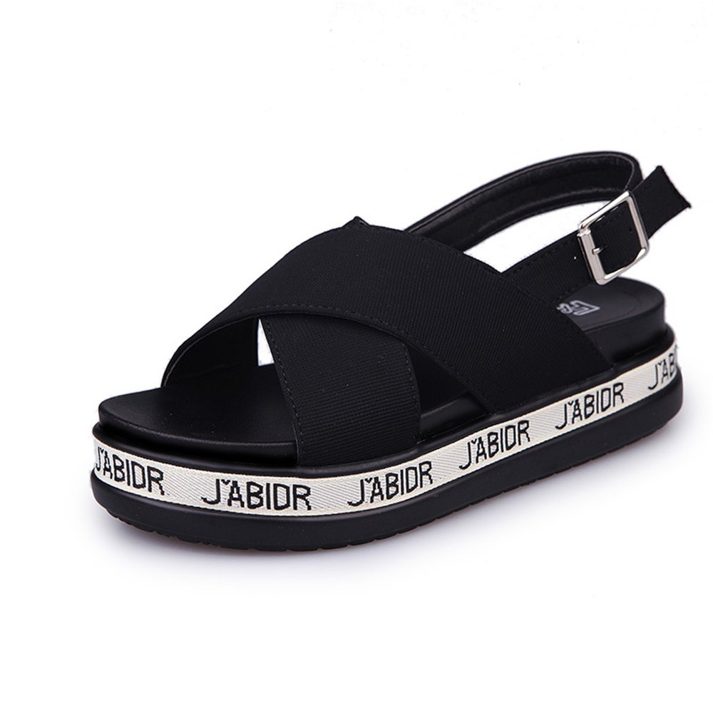Believed Fashion Women Sandals Summer Shoes Wedges Open Toe Thick Heel Platform Sandals B07CVQH59K 35/4.5 B(M) US Women Black