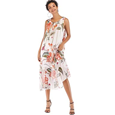 50fd1edb08048 Women's Summer Dresses Boho O-Neck Floral Print Draped Beach Style ...