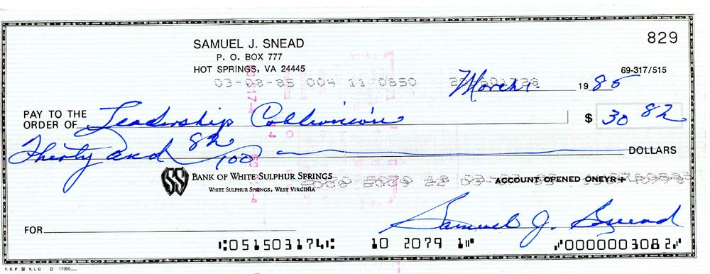 Sam Snead Signed Auto 3x8.5 Check #829 Certified Authentic