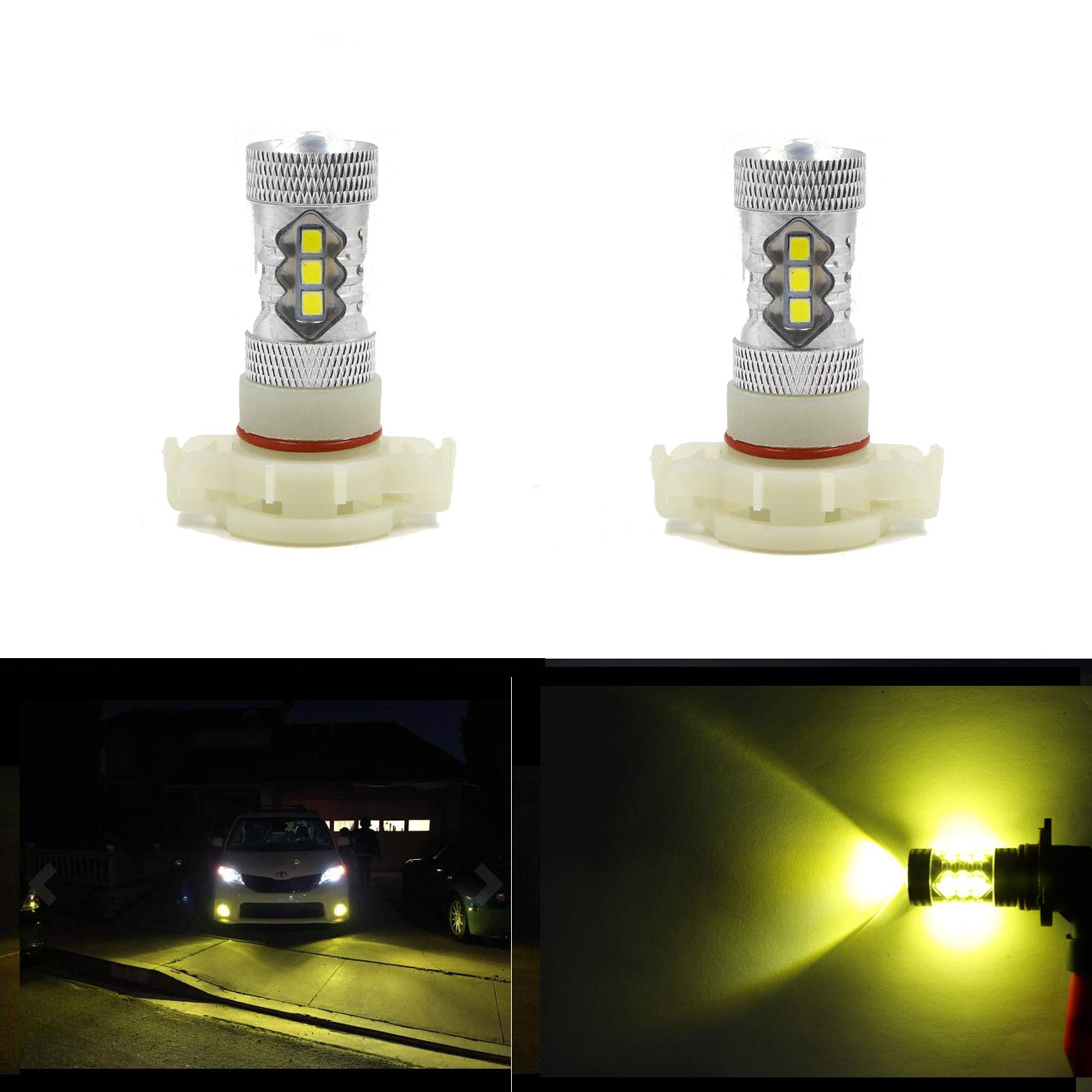 Gold Yellow Dantoo Pack of 2 2504 LED Fog Light Bulbs Extremely Bright 3000K 16 SMD PSX24W LED Bulbs Fog Light Lamp Replacement for DRL or Fog Lights