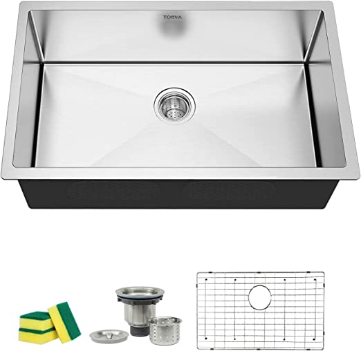 TORVA 30-Inch Undermount Kitchen Sink, 16 Gauge Stainless Steel Undermount  Single Bowl 30 x 18 x 10 inch Deep, Fits 33 inch Cabinet