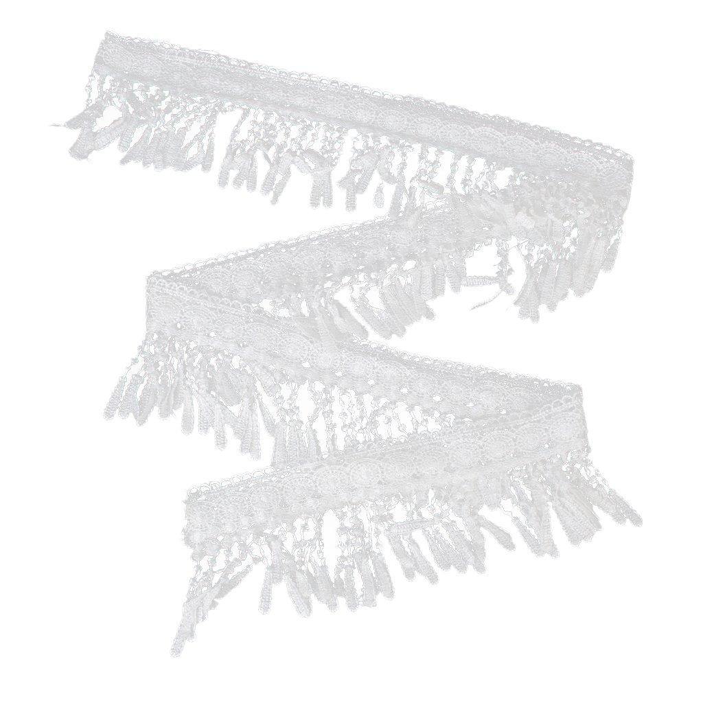 Extra anchos para hombre borla de encaje con detalle de patrones de costura para 3 m DIY 11,5 cm blanco